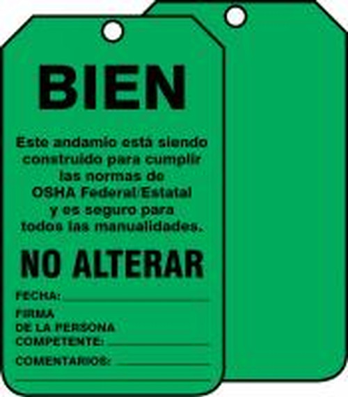 Scaffold Status Safety Tag: OK- Do Not Alter