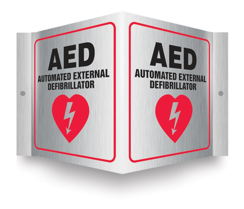 Brushed Aluminum 3D Projection™ Signs: AED Automated External Defibrillator