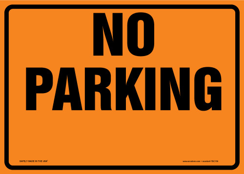 Cone Top Warning Sign: No Parking