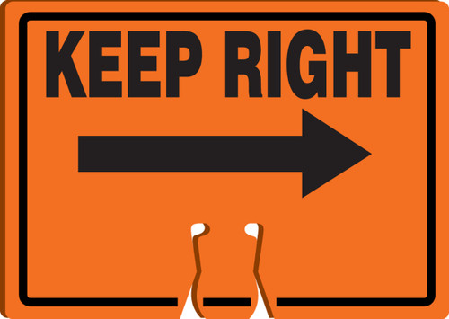 Cone Top Warning Sign: Keep Right