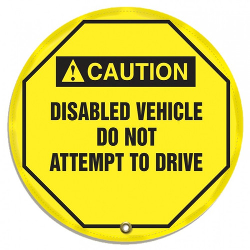 """Accuform KDD717 - ANSI Caution Safety 16"""" Steering Wheel Cover: Disabled Vehicle Do Not Attempt To Drive"""