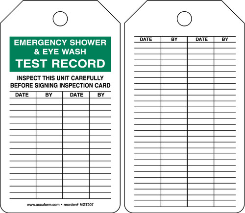 Safety Tag: Emergency Shower & Eye Wash Test Record - Inspect This Unit Carefully Before Signing Inspection Card