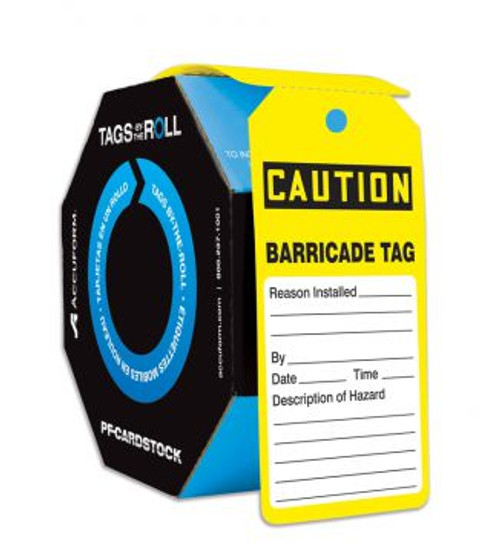 """Caution Barricade Tag  - TAR160 - 6 1/4"""" x 3"""" - 250 Per Roll - PF-Card Stock - Tags By-The-Roll"""
