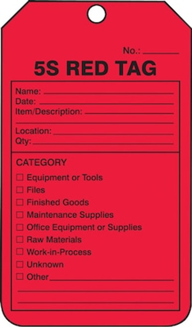 5S  Red Tag - 25/Pack