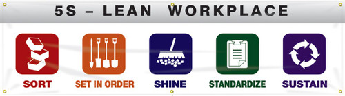 """5S Banner: Lean Workplace - 28"""" x 8'"""