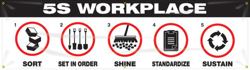 """5S Banner: Lean Workplace - 28"""" x 8' - Black and White"""