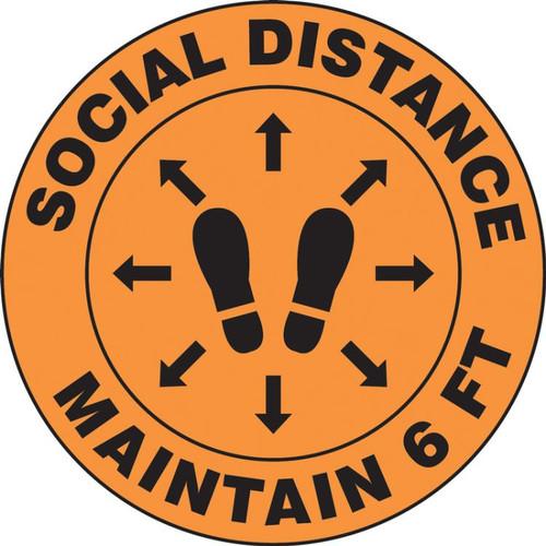 Slip-Gard Floor Sign: Social Distance Maintain 6 FT (Footprint image)