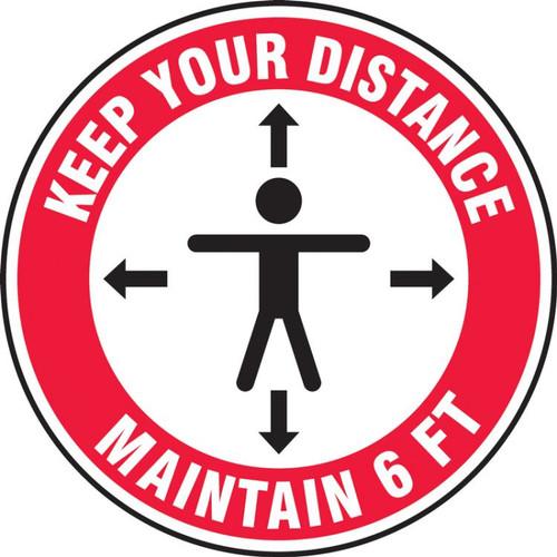 Slip-Gard Floor Sign: Keep Your Distance Maintain 6 FT