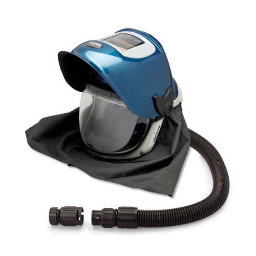 Allegro 9904-W Deluxe Supplied Air Shield and Blue Welding Helmet with No Flow Valve
