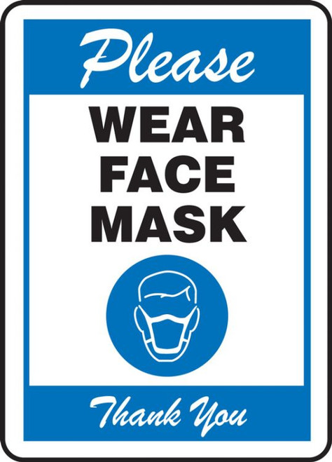 Please Wear Face Mask - Blue - Safety Sign