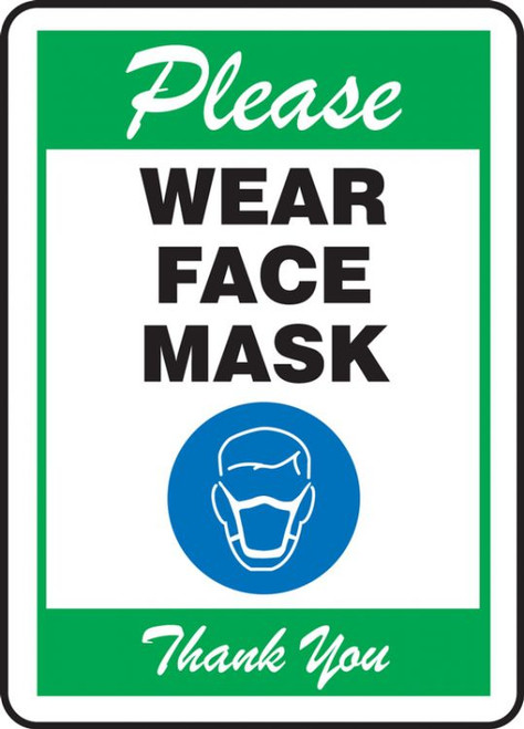 Please Wear Face Mask - Green - Safety Sign