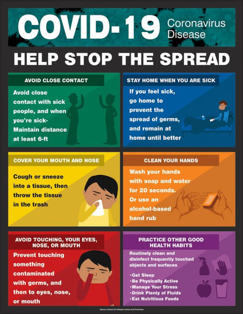 "Help Stop The Spread - 22"" x 17"" - Laminated Safety Sign"