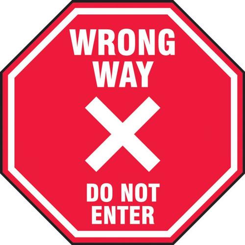 Slip-Gard Floor Sign: Wrong Way Do Not Enter
