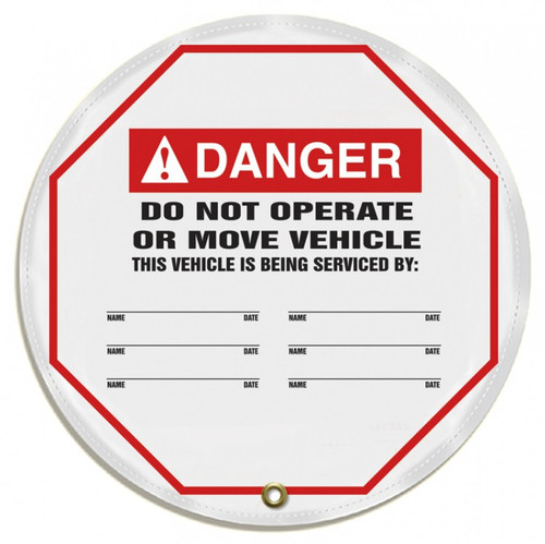 """Accuform KDD731 - ANSI Danger 24"""" Steering Wheel Message Cover: Do Not Operate Or Move Vehicle"""