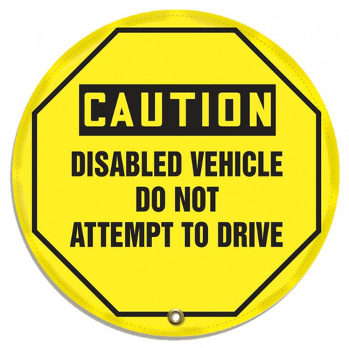 "Accuform KDD812 - OSHA Caution 16"" Steering Wheel Message Cover: Disabled Vehicle Do Not Attempt To Drive"