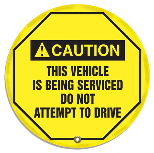 "Accuform KDD716 - ANSI Caution 16"" Steering Wheel Message Cover: This Vehicle Is Being Serviced Do Not Attempt To Drive"