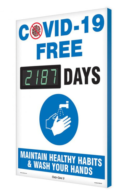 Digi-Day® 3 Electronic Safety Scoreboard: COVID-19 Free xxxx Days Maintain Healthy Habits & Wash Your Hands