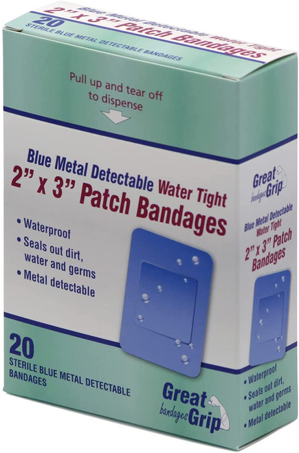 Blue Waterproof Metal Detectable 2x3 Large Patch Bandages - 20/box