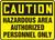 Caution - Hazardous Area Authorized Personnel Only - Aluma-Lite - 14'' X 20''