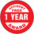 Accident Free Award 1 Year- No Accident Recognition Hard Hat Label