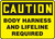 Caution - Body Harness And Lifeline Required - Adhesive Vinyl - 10'' X 14''