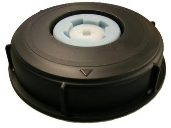 """IBC Cap 6"""" with 2"""" Hex/NPT & 3/4"""" Vent Plug with gasket black"""