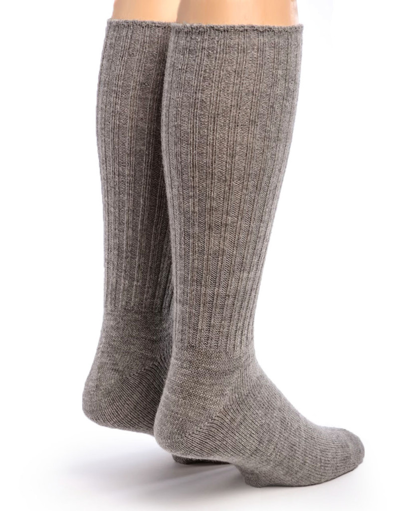 Ribbed Casual Alpaca Socks Back Natural Flannel Gray
