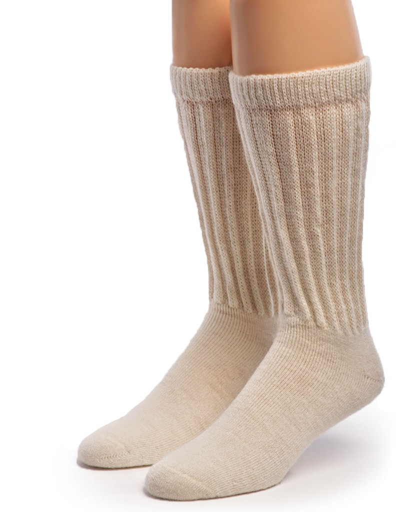 Therapeutic Terry Lined Alpaca Socks Front Natural