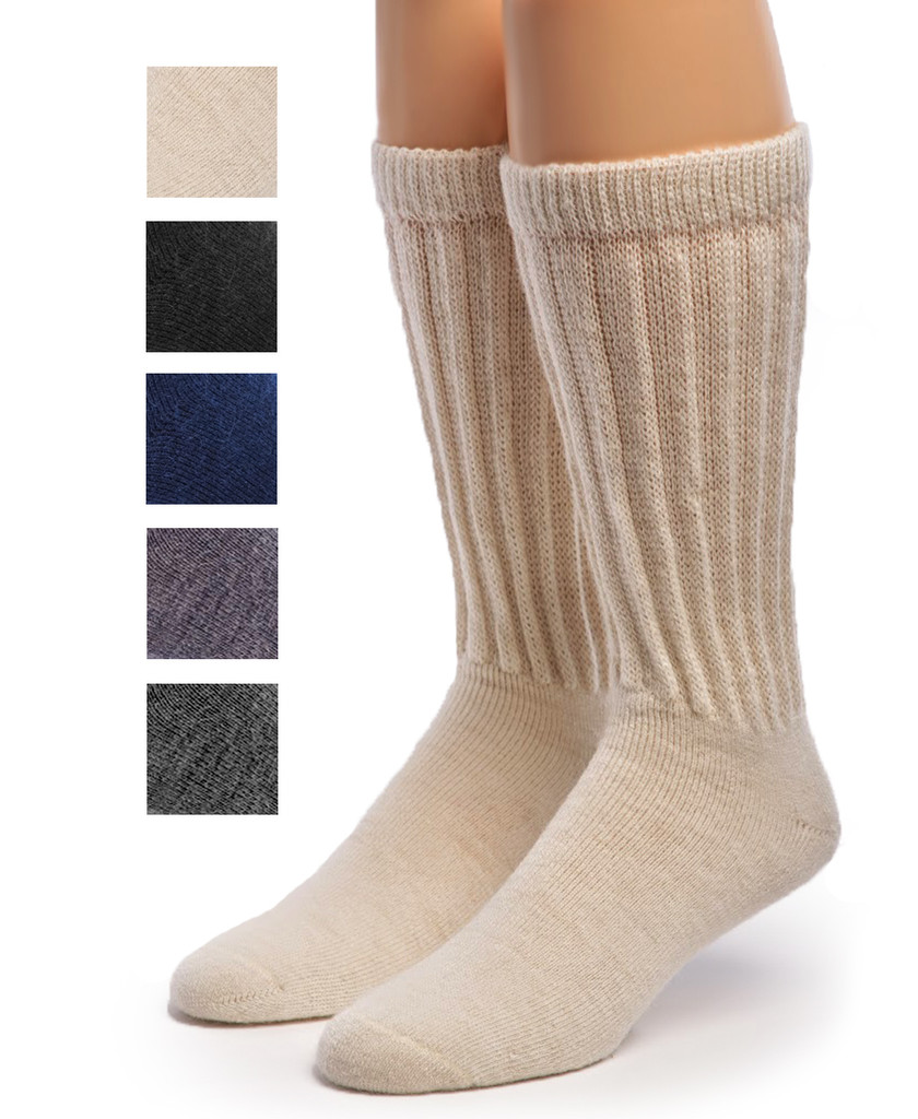 Therapeutic Terry Lined Alpaca Socks Main Showing color options