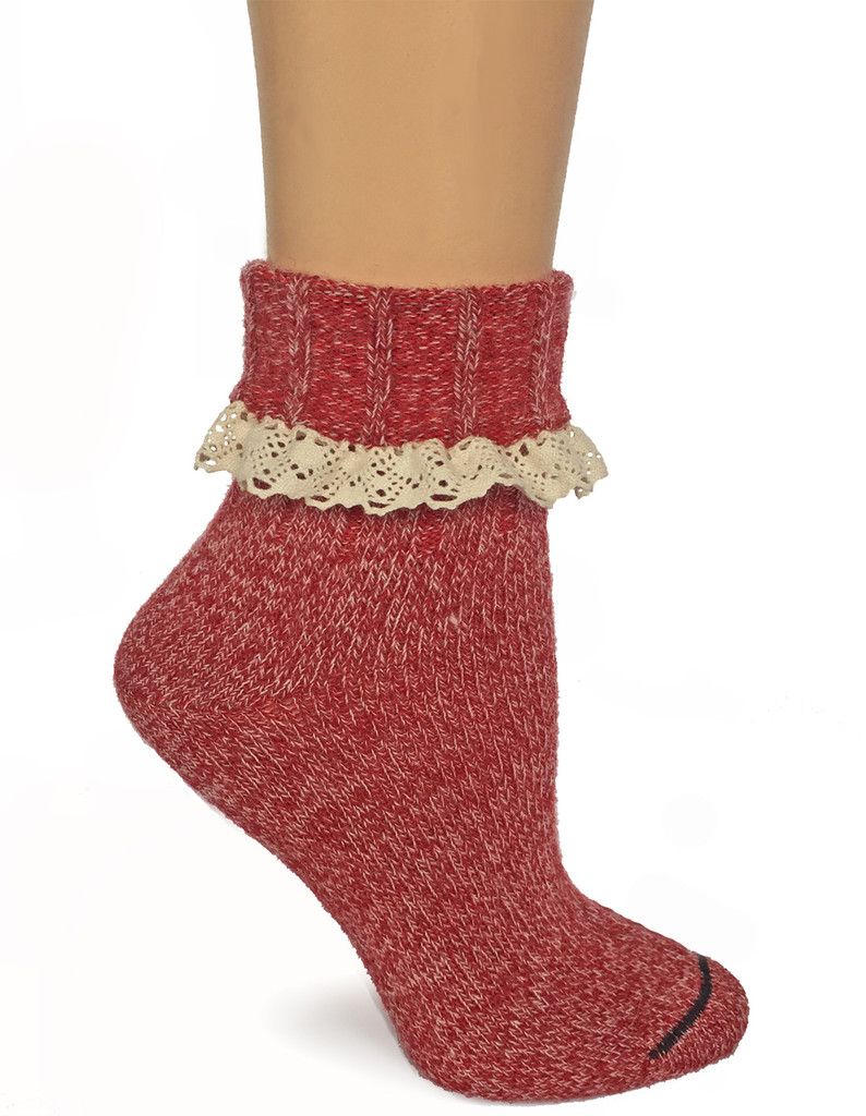 Lace Trimmed Heathered Boot Socks Side - Cuffed