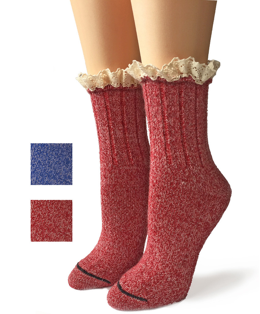 Lace Trimmed Heathered Boot Socks Main
