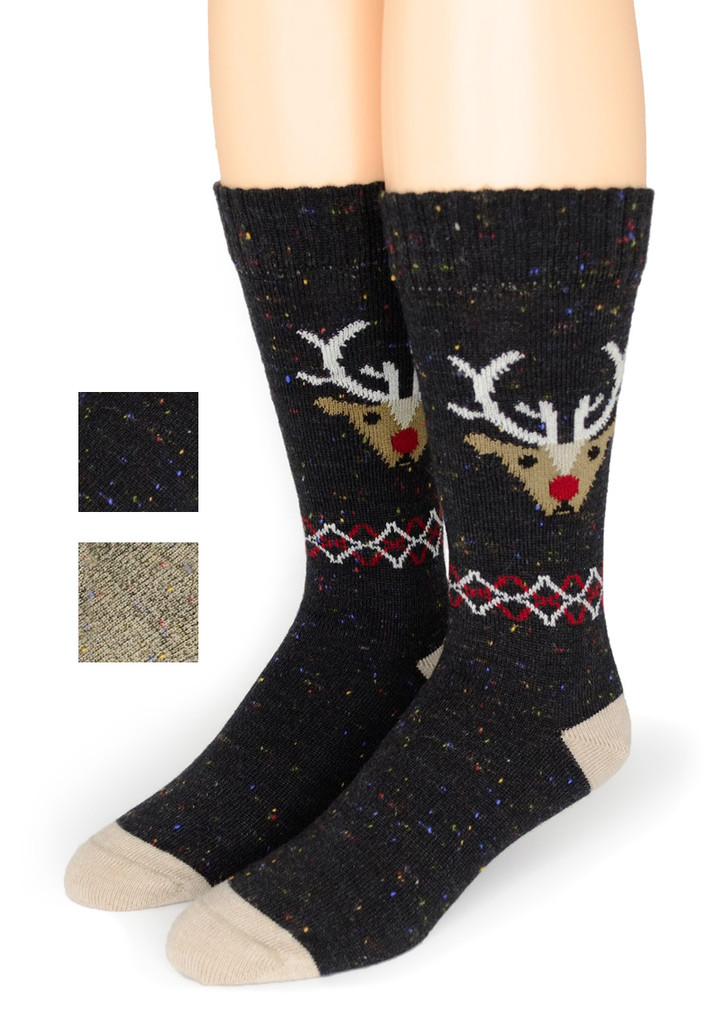 Reindeer Holiday Alpaca Wool Socks
