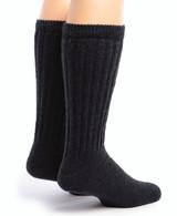 Wide Calf Terry Lined Alpaca Socks Back Black
