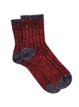 Heritage Speckle Ribbed Ankle Wool &  Alpaca Socks Flat View