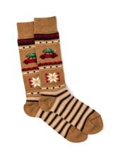 VW Christmas Tree Alpaca Wool Socks - Unisex Flat View