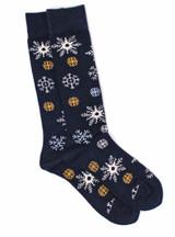 Snowflake Alpaca Wool Socks Flat View