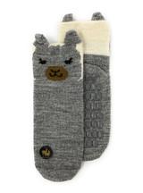 Peek-A-Boo Paca - Kid's Baby Alpaca Non-Skid Socks Flat showing non-skid