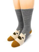 Happy Alpaca Family- Non-Skid Alpaca Socks for Children Adult Size S & M Sock Toe