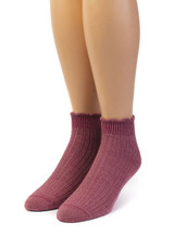 Scalloped Edge Baby Alpaca & Bamboo Socks - Solid In Dusty Rose - Front View