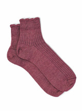 Scalloped Edge Baby Alpaca & Bamboo Socks - Solid In Dusty Rose - Flat View