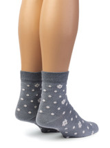 Petals & Dots - Baby Alpaca & Bamboo Bootie / Dress Socks In Steel Grey Blue / Off White - Back View