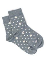 Petals & Dots - Baby Alpaca & Bamboo Bootie / Dress Socks In Steel Grey Blue / Off White - Flat View