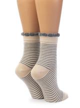 Women's Breton Striped Baby Alpaca & Bamboo Bootie / Dress Socks Back View