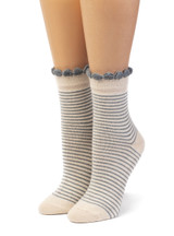 Women's Breton Striped Baby Alpaca & Bamboo Bootie / Dress Socks Front View