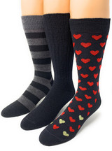 Warrior Alpaca Socks Found Hearts Gift Box styles shown on feet.