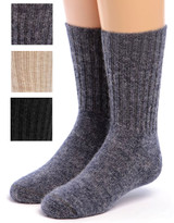 Kid's Superfine Alpaca Socks Natural & Denim shown