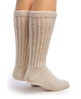 Therapeutic Terry Lined Alpaca Socks Back Natural
