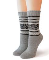 Fair Isle Pure Alpaca socks  Front