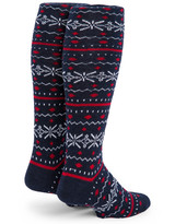 Fair Isle Knee High Fashion Alpaca Wool Socks - Back