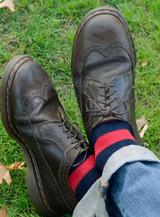 Vintage Rugby Stripe Dress Alpaca Wool Socks - On Model